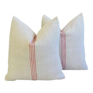 Custom French Red Striped Gain Sack Feather/Down Pillows - a Pair