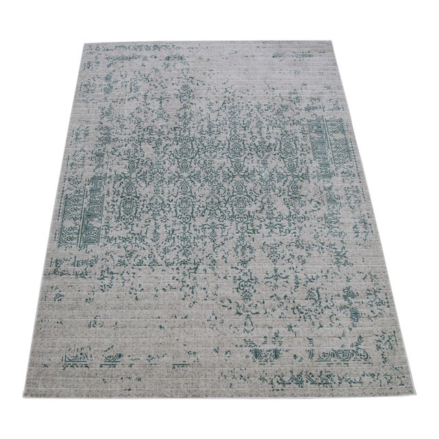 Vintage Faded Persian Teal Distressed Rug