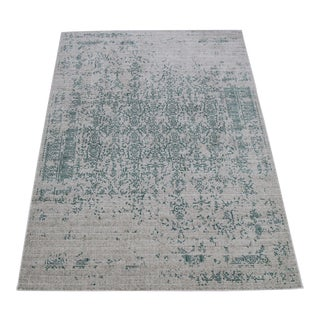 "Vintage Faded Persian Teal Distressed Rug - 5'3"" X 7'7"""