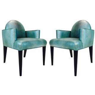 Teal Metallic Luna Arm Chairs by Donghia - Pair
