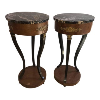 Empire Style Marble Top Pedestals - A Pair