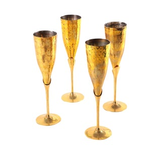 Brass Champagne Flutes - Set of 4