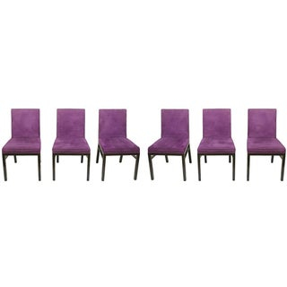 Purple Suede Upholstered Side Chairs - Set of 6