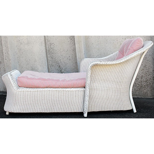 Image of White Wicker Chaise Lounge Chair