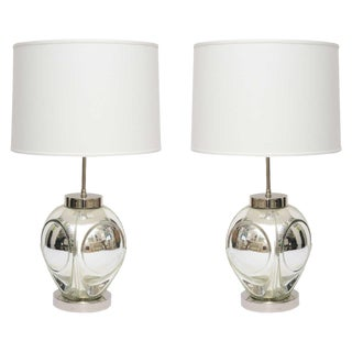 Mid-Century Modern Polished Chrome & Mercury Glass Table Lamps - A Pair