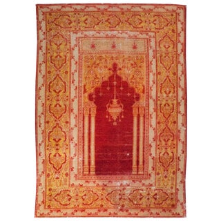 Early 20th Century Turkish Oushak Prayer Rug