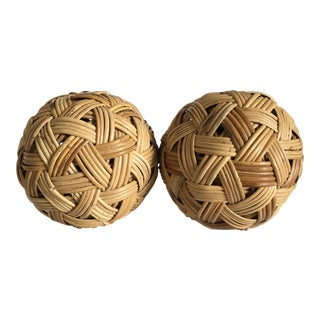Decorative Woven Wicker Balls - A Pair