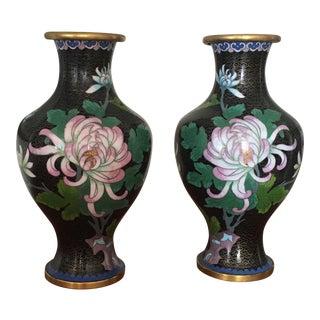 Vintage Floral Cloisonné Vases - A Pair