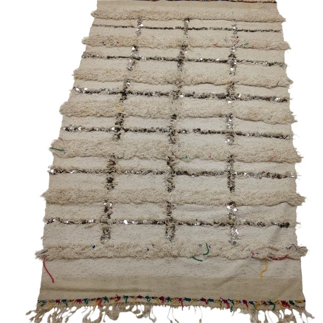 Moroccan Sequin Handira Wedding Blanket - Image 1 of 4