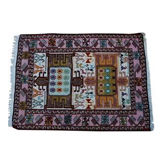 Silk & Wool Handmade Kilim Rug - 2'6'' X 3'4''