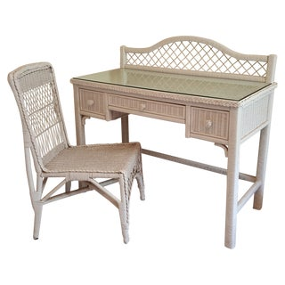 Vintage Wicker 3-Drawer Desk and Chair Set