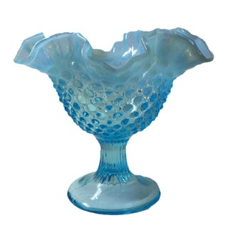 Fenton Blue Opalescent Hobnailed Glass Bowl