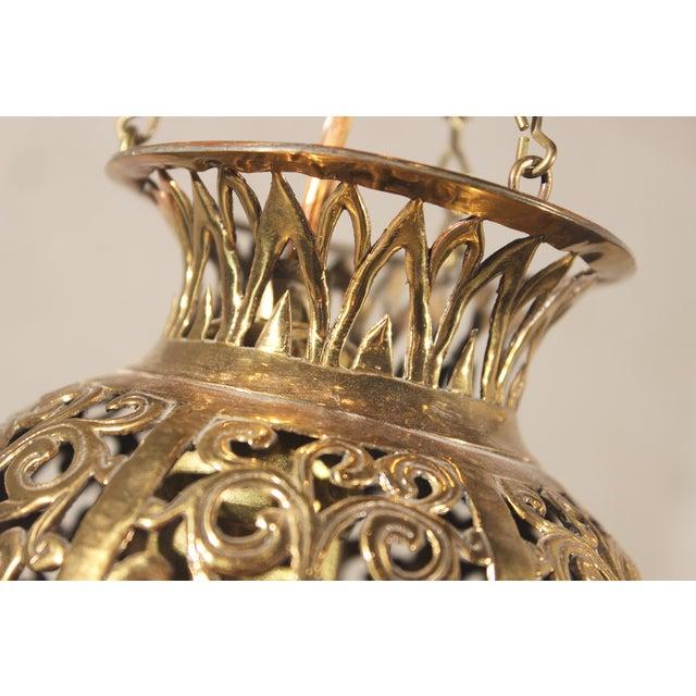 Tibetan Hammered & Pierced Brass Dragon Floor Lamp - Image 6 of 11