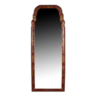 Wall Mirror in Red Leather Frame, Chinese, Early 20th Century