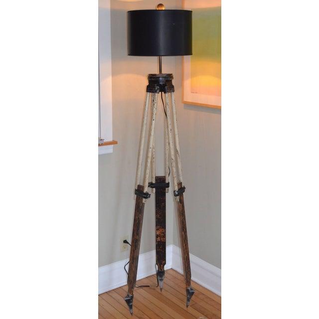 Black-And-White Surveyor's Tripod Floor Lamp - Image 2 of 7