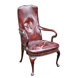 Distressed Burgundy Leather & Mahogany Arm Chair