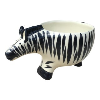 Mid Century Ceramic Zebra Planter Bowl