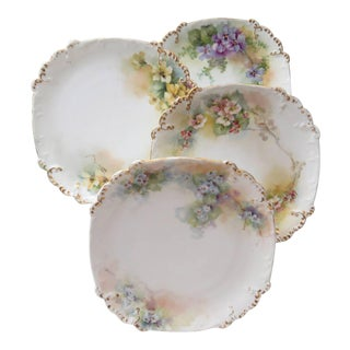 T&V Hand Painted Square Dessert Plates - Set of 4
