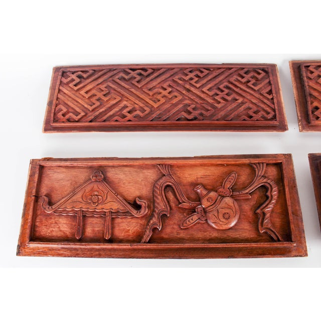 Chinese Hand-Carved Wooden Geometric & Figural Panels - Set of 4 - Image 4 of 11