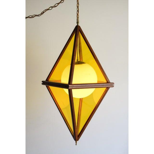 Mid-Century Teak & Yellow Pendant Light - Image 8 of 11