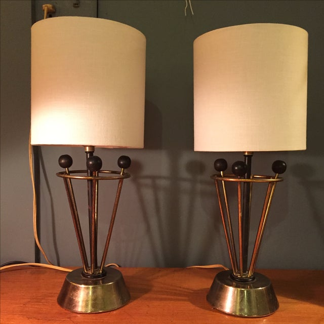 Image of Mid-Century Atomic Table Lamps - A Pair