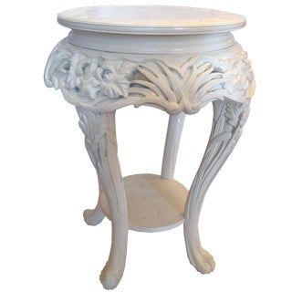 Asian Hand Carved Iris Design Accent Table