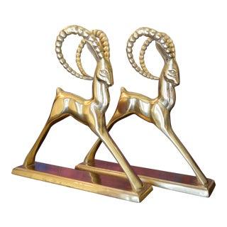 Ibex Brass Figurines - Pair
