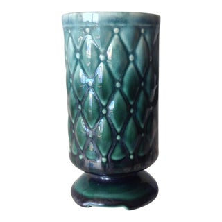 c.1950s Mid-Century Ceramic Crackle Glazed Cross Quilted Teal Vase