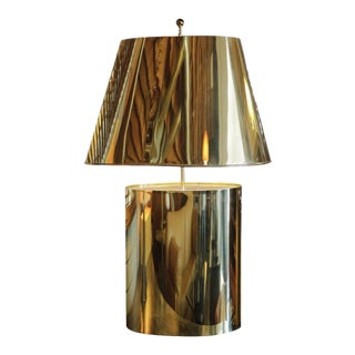 Large Brass Table Lamp Attributed to Curtis Jere