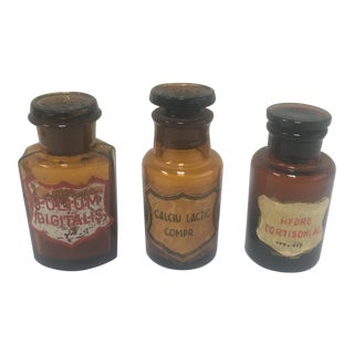 Amber Apothecary Jars - Set of 3