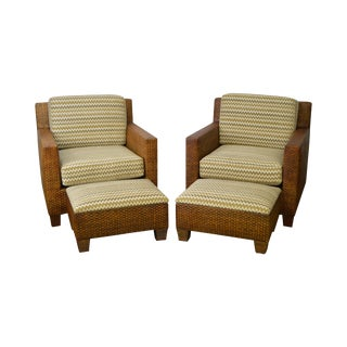 Custom Quality Pair of Woven Wicker Rattan Lounge Chairs w/ Ottomans