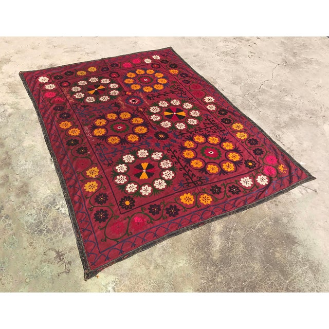 Dark Red Suzani Blanket - Image 5 of 6