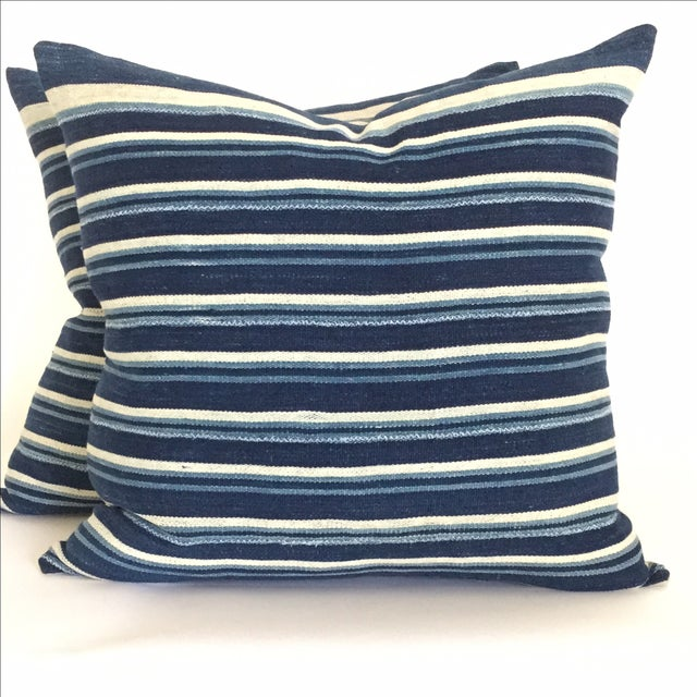 Vintage African Indigo Stripped Pillows - Pair - Image 2 of 4
