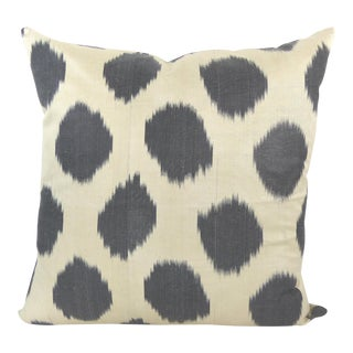 Black Dots Woven Silk Ikat Pillow