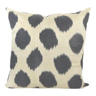 Black Dots Woven Silk Ikat Pillow