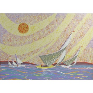Abstract Yellow Sailboat Serigraph on Paper