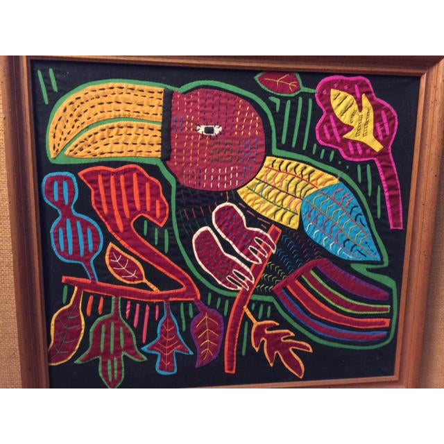 Mid-Century Framed Kuna Mola Textile Art - Image 4 of 5