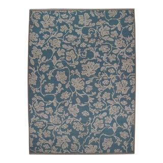 Blue Soumak Design Hand Woven Wool Rug - 10' X 14'
