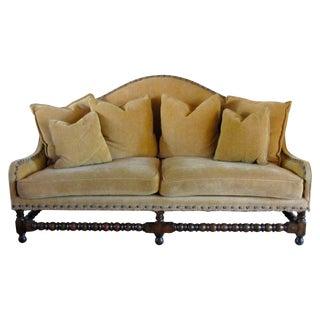 Charles Pollock Chenille Camel Back Sofa