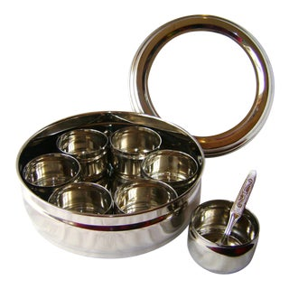 9-Spice Stainless Steel Masala Dabba Spice Box