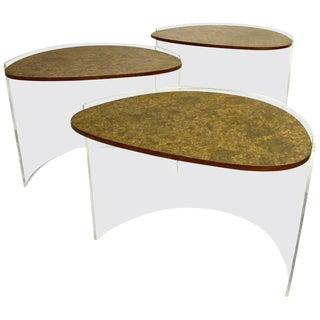 Vladimir Kagan Lucite and Burled Design Nesting Tables