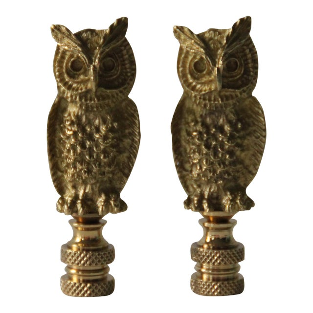 Brass Owl Lamp Finials - A Pair - Image 1 of 3