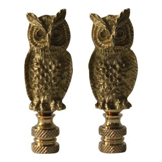 Brass Owl Lamp Finials - A Pair