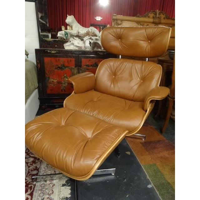 Eames Style Recliner and Ottoman - Image 2 of 6