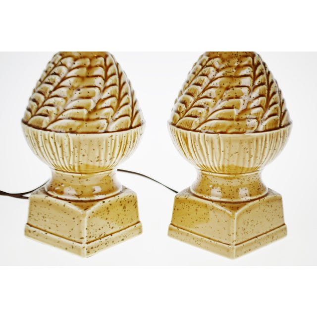 Image of Vintage Ceramic Glazed Table Lamps - A Pair