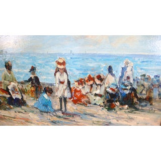 French Impressionist Beach Scene Painting by J. Deveau