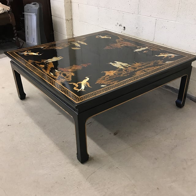 Vintage Asian Style Black Hand Painted Coffee Table Chairish