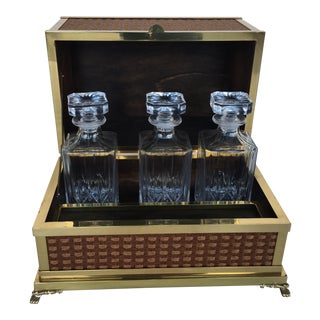 Italian Brass Tantalus Bar With Bottles - Set of 4