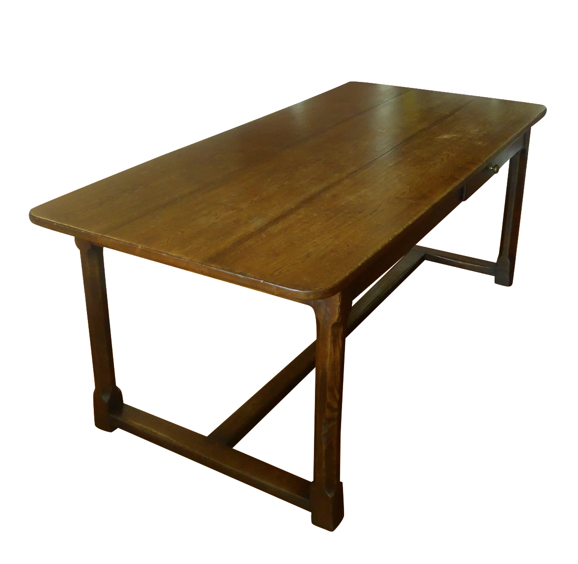 Farmhouse Kitchen Table With Drawers: Single Drawer Rustic Farm Dining Table