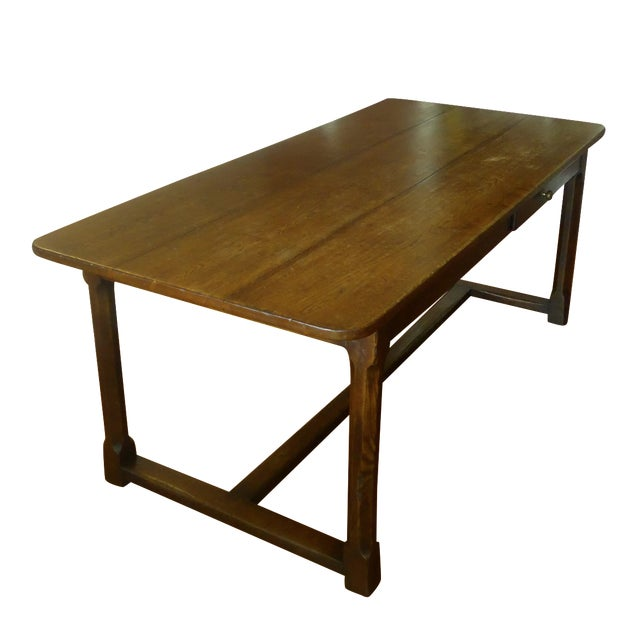 Single drawer rustic farm dining table chairish Dining table with drawer